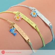 kids bracelets silver personalized ba bracelet with pendant monogram