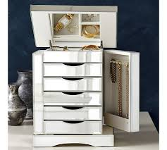 mirror and jewelry cabinet ultimate mirrored jewelry box pottery barn
