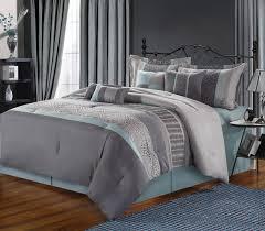 Luxury Comforter Sets 12pc Euphoria Grey Aqua Luxury Bedding Set Bed In A Bag