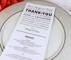 wedding menu cards wedding reception menu and thank you card combo wedding menu