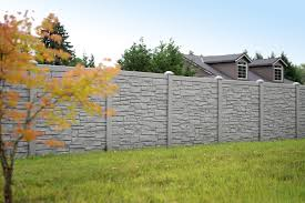 faux stone fence panels with gray exterior color ideas