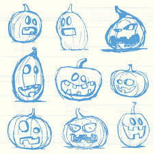 set of hand drawn jack o lantern halloween pumpkins stock vector