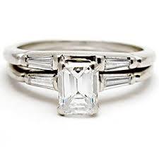 emerald cut wedding set vintage emerald cut diamond engagement bridal ring set solid 14k