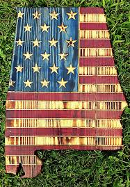American House Flag State Wood Cut Out With American Flag