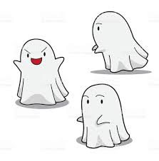 drawn ghostly cute cartoon pencil and in color drawn ghostly