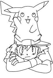 download ash and pikachu coloring pages ziho coloring