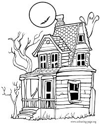 halloween haunted house coloring page of sheet we are all