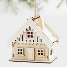 laser cut wood house ornaments with snow set of 3 world market
