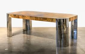 Extra Long Dining Room Tables Sale by Signed Paul Evans Cityscape Extra Long Burl And Chrome Dining