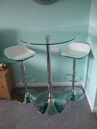 Effezeta Chairs by Contemporary Round Glass And Silver Kitchen Bistro Table And 2