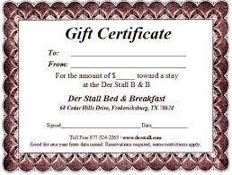 online gift card purchase fredericksburg bed breakfast gift certificate