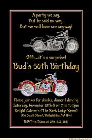 motorcycles 50th birthday invitation surprise party theme
