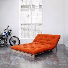 canapé lit futon karup canapé convertible roots 140 cm bois brut futon orange