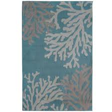 Teal Living Room Rug Lanart Coral Teal Polyester 4 Ft X 6 Ft Area Rug Coral4x6te
