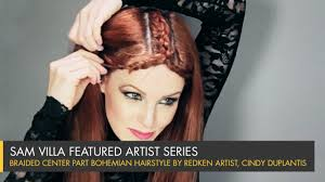 braided center part bohemian hairstyle with color accents youtube