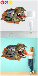 21 best 3d home decoration wall stickers bedroom living room study removable 3d stereoscopic broken wall dinosaur decorative wall sticker for kids room living room bedroom home