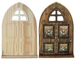 fairy garden door wood panel window arch diy unfinished gift