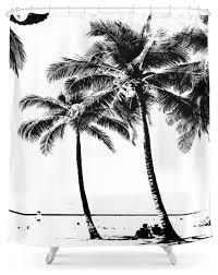 society6 black and white palm tree with hawaii summer sea beach