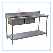 assemble two tier folding sink bench stainless steel kitchen work
