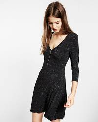 Long Sleeve Black Fit And Flare Dress Medium Space Dye Three Quarter Sleeve Zip Front Fit And Flare