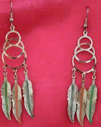 80s feather earrings 80 s style silver tone catcher pierced earrings by