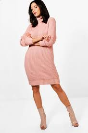 tall emy soft knit roll neck jumper dress blush fall