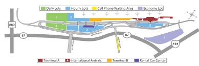 san jose airport on map parking sjc
