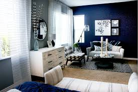 Navy Accent Wall by Cole Barnett Navy Blue And Gray Master Bedroom Remodel