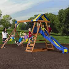 Swing Set For Backyard by Backyard Discovery Dayton Cedar Wooden Swing Set Walmart Com