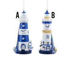 country marketplace blue white lighthouse ornaments 9 99 http