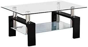 Glass Rectangle Coffee Table Suncoo Rectangular Glass Coffee Table Shelf Wood