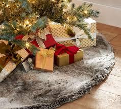 brown christmas tree skirt faux fur tree skirt gray ombre pottery barn