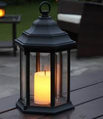 outdoor battery flickering candle lantern with timer led