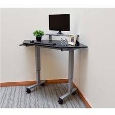 Stand Up Corner Desk Luxor Adjustable Height Stand Up Corner Desk Silver And Black