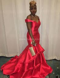 classic off the shoulder mermaid layered red satin new look prom