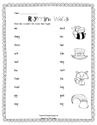 printable rhyming words rhyming words match up temple s teaching tales for the