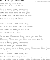 christmas carol song lyrics with chords for holly jolly christmas