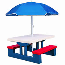 childrens outdoor furniture table 2 bench set parasol kids