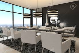3d rendering of modern luxury dining room interior and scenic