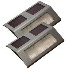 Led Solar Deck Lights - sunforce metallic solar powered led deck lights 2 pack lowe u0027s