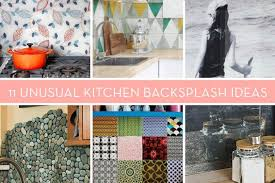 unusual kitchen backsplashes eye candy 11 totally unique diy kitchen backsplash ideas curbly