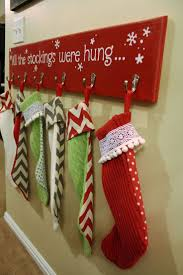 decorating charming christmas stocking hanger with red background