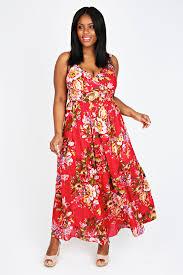 red vintage floral print maxi dress plus size 14 16 18 20 22 24 26
