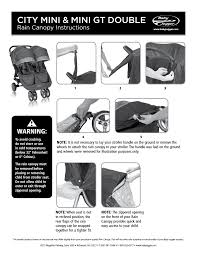 Baby Stroller Canopy by Baby Jogger City Mini User Manual 1 Page