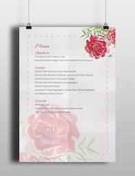 wedding menu u0026 invitation template the smell of roses the smell
