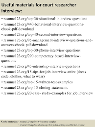 Researcher Resume Sample by Top 8 Court Researcher Resume Samples
