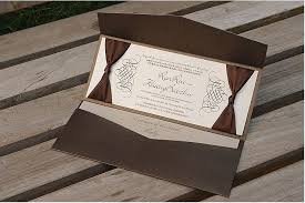 pocket invitations brown pocket wedding invitations free personalized printing with