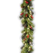 Evergreen Home Decor by Decor Eilko Christmas Pre Lit Garland With Led Lights And Berry