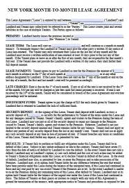 free new york month to month lease agreement pdf word doc
