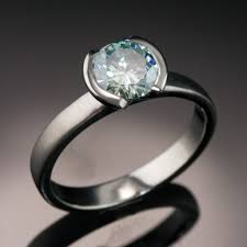 half ring blue 1ct moissanite half bezel solitaire engagement ring